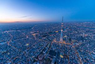 東京スカイツリーライトアップ,空撮の写真素材 [FYI03219871]
