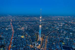 東京スカイツリーライトアップ,空撮の写真素材 [FYI03219875]