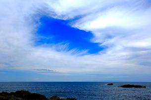 千畳敷と雲間の青空の写真素材 [FYI03222855]