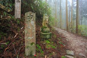 吉野山,奥千本の道標,大峯奥駈道の写真素材 [FYI03223147]