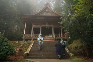 吉野山,霧の金峯神社の写真素材 [FYI03223148]