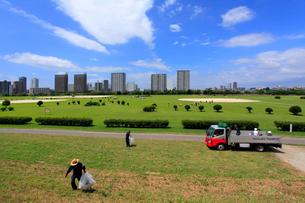 六郷土手の多摩川緑地の清掃の写真素材 [FYI03223209]