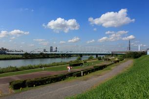 六郷土手の多摩川緑地と雲の写真素材 [FYI03223215]