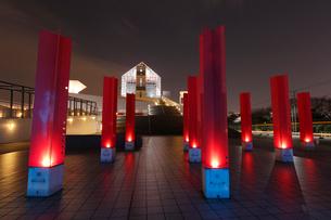 ライトアップされた夜の晴海客船ターミナルの写真素材 [FYI03224411]