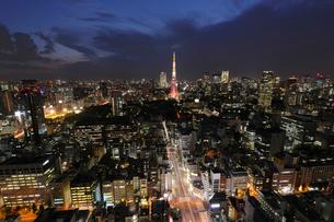 浜松町貿易センタービルより望む夜の東京タワーの写真素材 [FYI03224456]