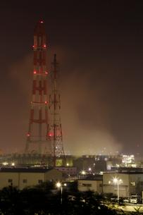 鹿嶋工業地帯の夜景を望むの写真素材 [FYI03224470]