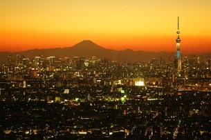 富士山と、東京都心と東京スカイツリーの夜景の写真素材 [FYI03225388]