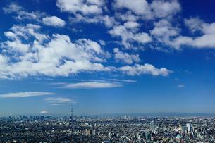 富士山と東京スカイツリーと東京都心と都会の空の写真素材 [FYI03225400]