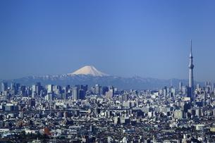 富士山と東京スカイツリーと東京都心ビル群の写真素材 [FYI03225402]