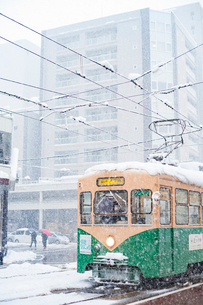 雪の中を走る路面電車(富山地方鉄道)2の写真素材 [FYI03225489]