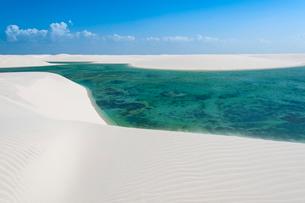 レンソイスの白砂の砂漠の風紋と湖の写真素材 [FYI03225593]