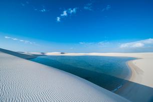 レンソイスの白砂の砂漠に浮かぶ風紋と湖の写真素材 [FYI03225603]