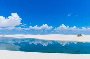 レンソイスの白砂の砂漠の湖と入道雲の写真素材 [FYI03225609]