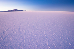 ウユニ塩湖と朝日に浮き立つ亀甲模様の写真素材 [FYI03225626]