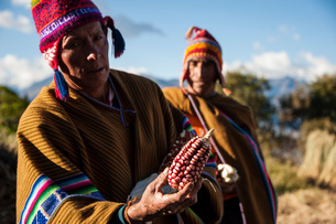 ペルー・ウルバンバのケチュア族と収穫したトウモロコシの写真素材 [FYI03225640]