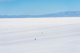 ウユニ塩湖を走る車の写真素材 [FYI03225954]