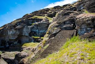 モアイの石切り場 ラノララクの写真素材 [FYI03225979]