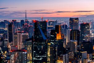 六本木ヒルズより望む夜明けの東京都心の写真素材 [FYI03226561]