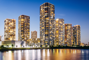 東京 江東区東雲のタワーマンション群の夜景の写真素材 [FYI03226571]