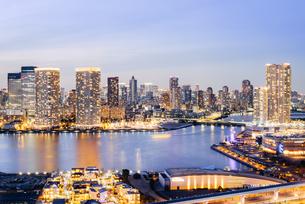 湾岸エリアから望む東京都心の夜景の写真素材 [FYI03226597]