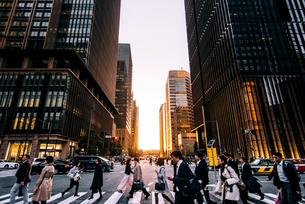 東京 千代田区 夕暮れの大手町の写真素材 [FYI03226599]