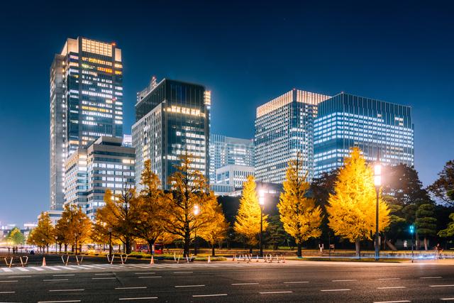 東京 千代田区 丸の内のビル群の夜景の写真素材 [FYI03226613]