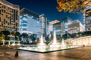 東京 千代田区 和田倉噴水公園の夜景の写真素材 [FYI03226618]