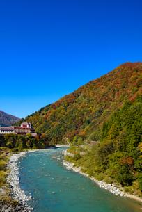 黒部川と彩る紅葉の写真素材 [FYI03226656]