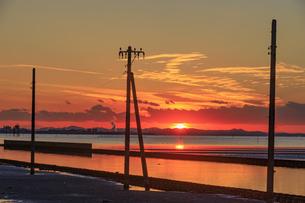 夕暮れの江川海岸の写真素材 [FYI03227585]