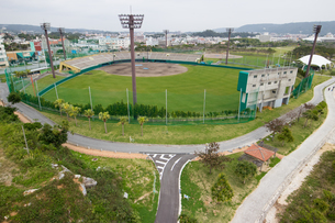 沖縄空撮 名護市民球場の写真素材 [FYI03227961]