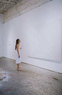 ギャラリーで作品を見る外国人女性の写真素材 [FYI03229063]