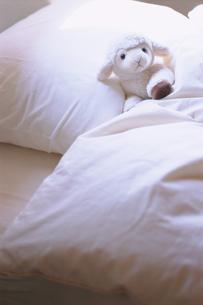 ベッドの上の羊のぬいぐるみの写真素材 [FYI03229117]