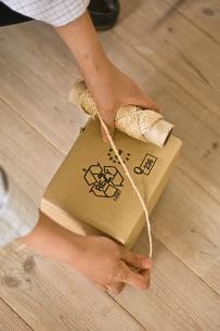 箱に縄をかける男性の手元の写真素材 [FYI03229490]