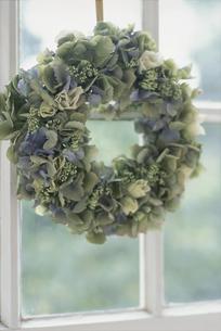 青い花のリースの写真素材 [FYI03229927]