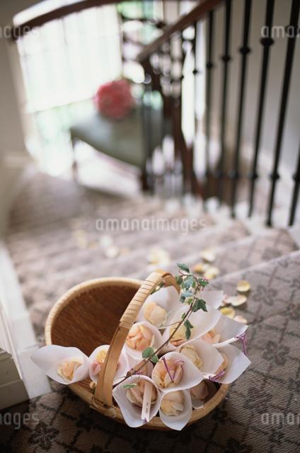 階段の上の籠の写真素材 [FYI03230103]