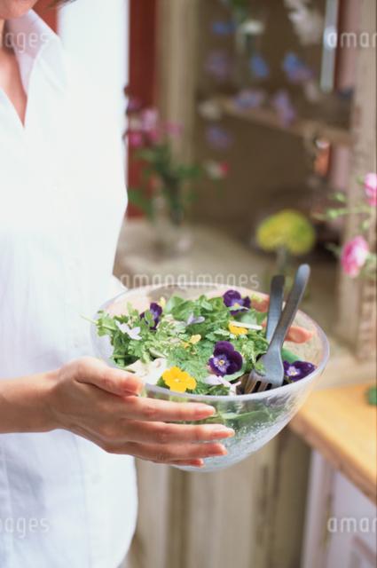 サラダを持つ女性の手元の写真素材 [FYI03230110]