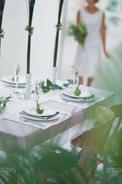 植物に囲まれた食卓の写真素材 [FYI03230117]