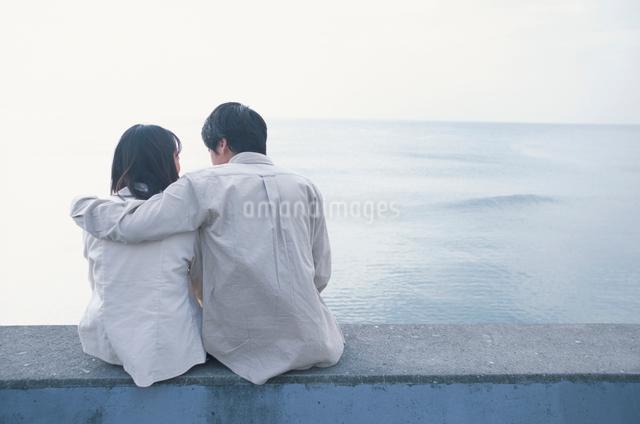 寄り添う日本人のカップルの後ろ姿の写真素材 [FYI03230357]
