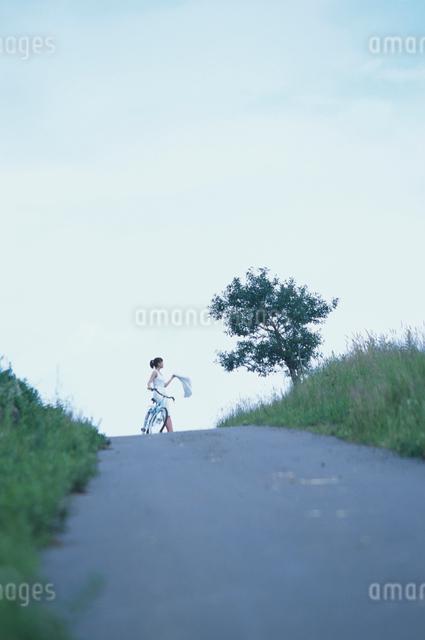 小道と日本人女性の写真素材 [FYI03230381]