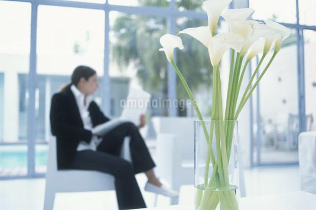 花瓶に生けたカラーとパソコンを操作する女性の写真素材 [FYI03230460]