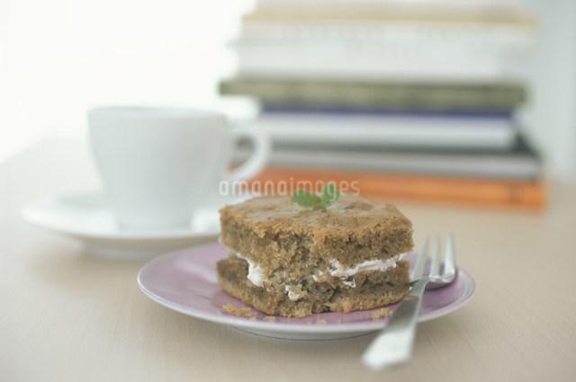 ピンクのお皿にのったケーキとフォークの写真素材 [FYI03230521]