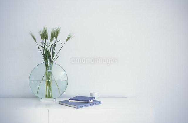 花瓶に活けた麦穂と本と白いカップの写真素材 [FYI03230688]
