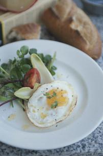 目玉焼きとリーフサラダをのせた白い皿とパンの写真素材 [FYI03230705]