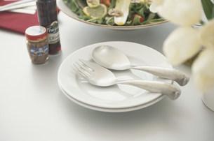 白い皿にのせたフォークとスプーンの写真素材 [FYI03230711]