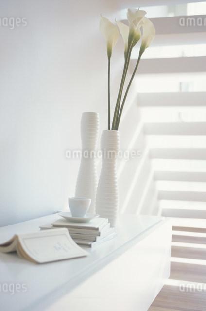 棚に置いた本と白い花瓶に活けたカラーの写真素材 [FYI03230748]