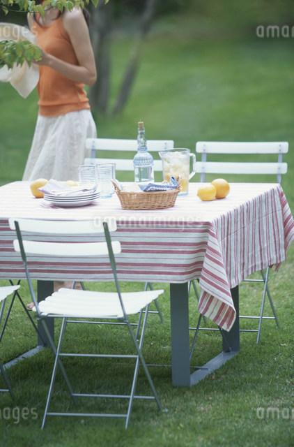 果物と飲み物をセットしたガーデンテーブルの写真素材 [FYI03230857]