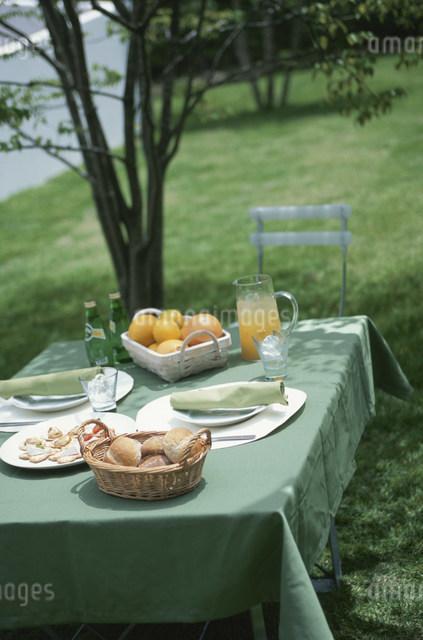 食事の準備をしたガーデンテーブルの写真素材 [FYI03230880]