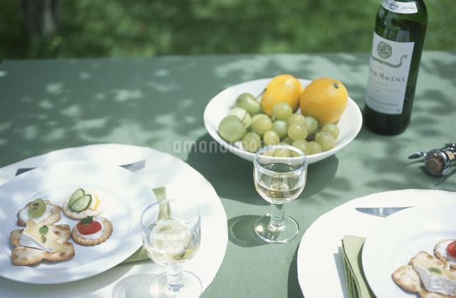 食事の準備の整ったガーデンテーブルの写真素材 [FYI03230881]