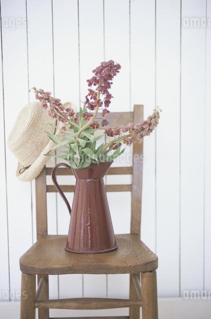 イスの上の帽子と花の写真素材 [FYI03230933]
