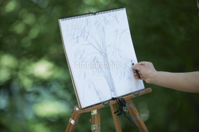 キャンバスに絵を描く女性の写真素材 [FYI03231056]